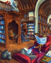 Animals Reading in the Library Funny Rhi