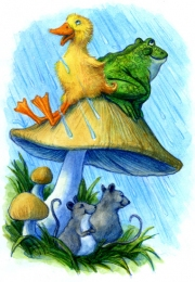 Cute Swamp Pals, Duck Frog and Mice in Rain