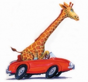 Funny Giraffe Driving in Red Car