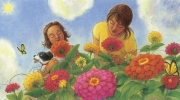Mom and Me and Zinnias