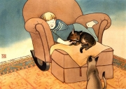 Boy Sleeping with Cats